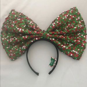 GIANT RED AND GREEN SEQUIN BOW HEADBAND
